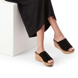 Womens Sam Edelman Ranger Black Wedge Sandals